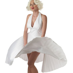 WOMANS COSTUMES Marilyn Monroe WHITE DELUXE DRESS